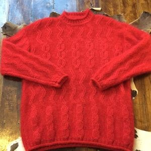 Vintage Espirit Red Mohair Oversized Sweater